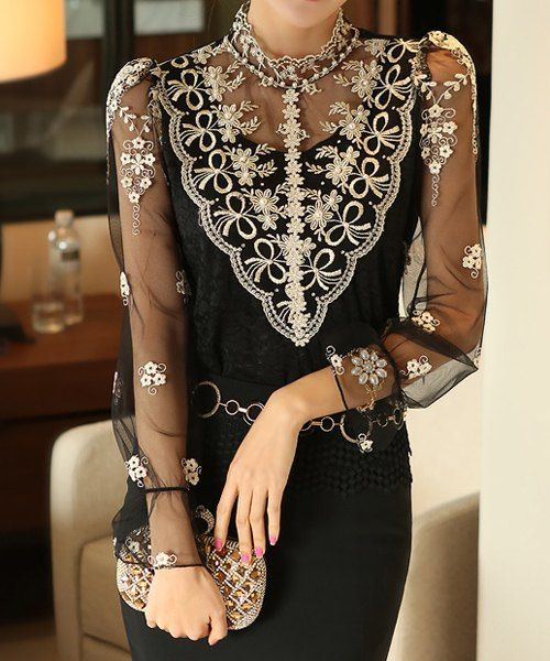 Stylish Turtle Neck Long Sleeve Spliced See-Through Women's Blouse