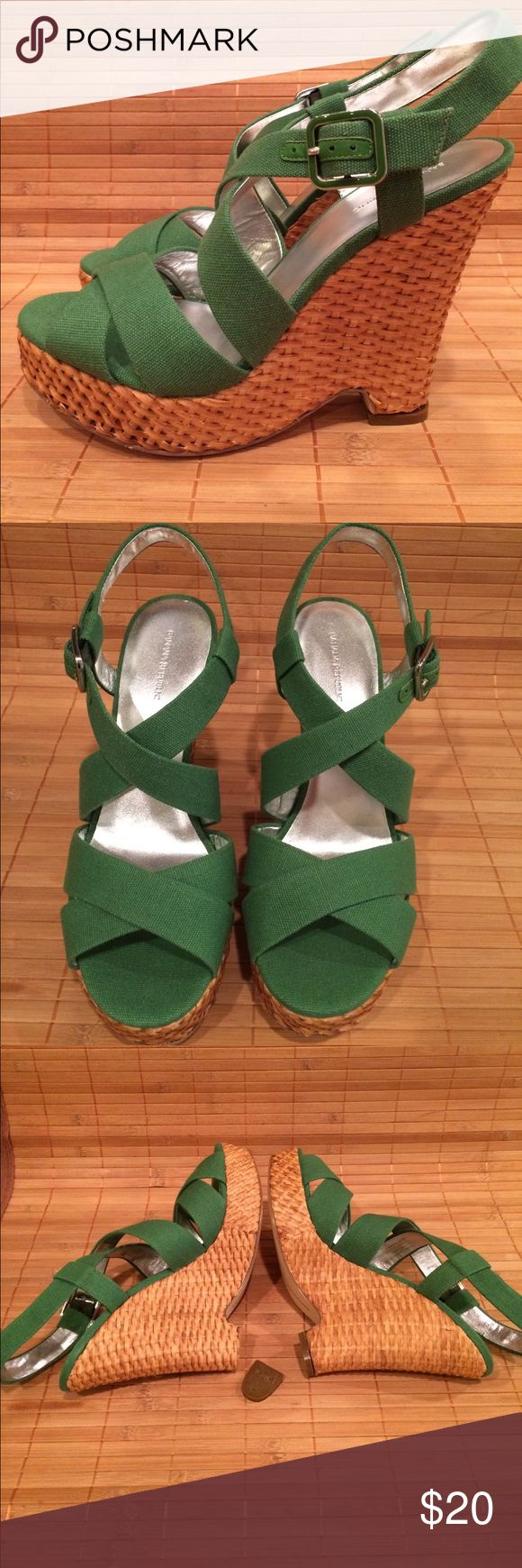 """Banana Republic Veronique - NWB- size 8 - PLS READ Gorgeous kelly green wedge sandals by Banana Republic. NOTICE! I've never worn these but when I opened the box both of the heel taps had fallen off. Very weird. Easy fix, I thought so I bought the famous """"Shoe Goo"""", followed the directions and glued the taps back on. Hmm, one won't stick. You will need to repair yourself or better yet, take to a shoe cobbler/repair person.  But these are so adorable that they'd be worth it. These are sold…"""