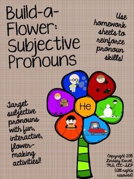 """PRONOUNS!!  This product includes four build-a-flower activities, (one each: """"he"""", """"she"""", """"it"""", and """"they""""), as well as four homework sheets!!"""