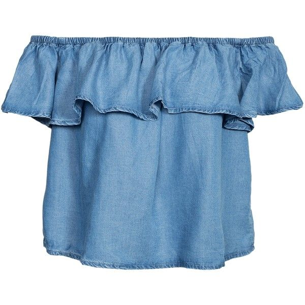 New Look Frill Denim Bardot Top ($23) ❤ liked on Polyvore featuring tops, blue, womens-fashion, blue crop top, flounce crop top, frilly tops, blue top and denim crop top