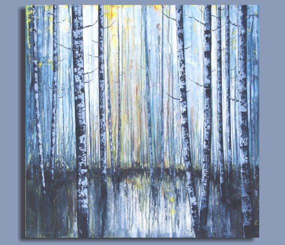 Abstract Birch Tree Painting Abstract Painting Of Birch