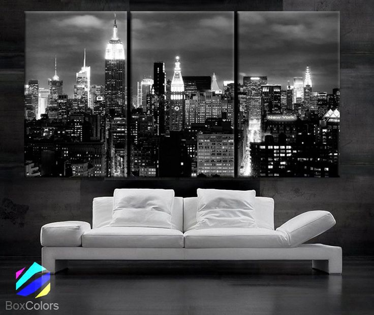 """LARGE 30""""x 60"""" 3 Panels Art Canvas Print beautiful New York City skyline Black & White Wall Home (Included framed 1.5"""" depth)"""
