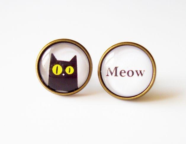 MEOW czarny kot - kolczyki szklane duże - byKokita - Kolczyki wkrętki