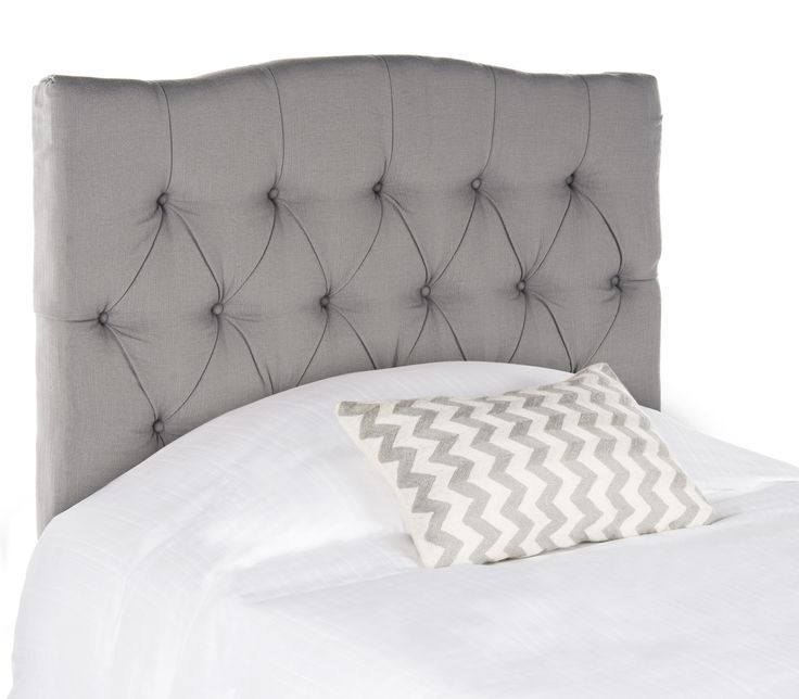 Dress up a guest room or master suite with the deeply tufted Axel twin headboard lavishly upholstered in chic arctic grey. With posh button-tufting, this comfortably padded, gently curved classic head