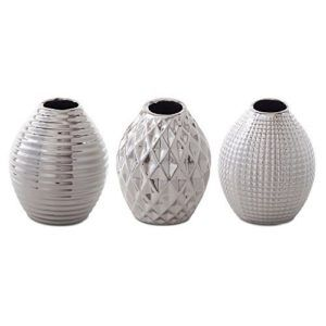 ... Celly Silver Stoneware Trio of Contemporary Bud Vases Home Decor