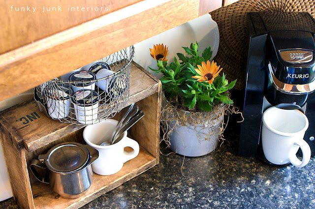 Coffee station out of a crate and deep fryer basket. http://www.funkyjunkinteriors.net/2012/04/coffee-pod-storage-with-crate-and.html