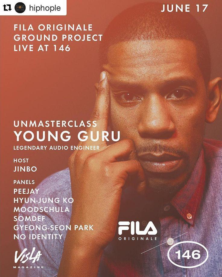 "#Repost @hiphople with @repostapp  [강연]] VISLA Magazine presents ""Unmasterclass: Young Guru"" FILA Originale Ground project live at 146 . 라카펠라 레코즈와 데프 잼 레코즈에서 활동하는 뉴욕 대표 엔지니어 제이 지(Jay Z)와 함께 위대한 역사를 만들어온 장본인이자 월스트리트 저널이 꼽은 미국 힙합 역사상 가장 성공한 엔지니어 '영 구루(Young Guru)'의 강연을 듣는 시간을 마련했습니다. . 진보(Jinbo)가 진행을 맡고 피제이(Peejay) 무드슐라(Moodschula) 섬데프(Somdef) 노 아이덴티티(No Identity)를 비롯해 엔지니어 고현정 박경선이 패널로 참여 각자의 노하우를 들려줄 예정입니다. . 날짜: 6월 17일 금요일 오후 6시11시 장소: 삼청로 146(서울시 종로구 삼청동 26-2) . 1부: Peejay x 고현정 2부…"