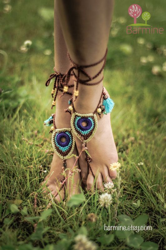 Sandals Barefoot Tribal Jewelry Peacock Czech Beads Crochet Pé Hippie Festival desgaste da ioga Praia Boho Anklet sapatos casamento do destino