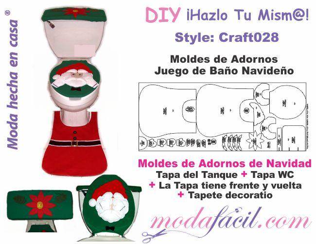 Descarga gratis los moldes del juego de baño navideño Santa Claus