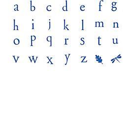 Printer Type Alphabet Lowercase Rubber Stamp Set