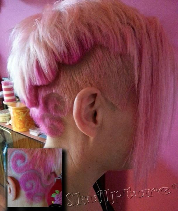 ;Cotton candy pink hair with a swirly design :)  for more hairy pictures : www.facebook.com/skullpturehair