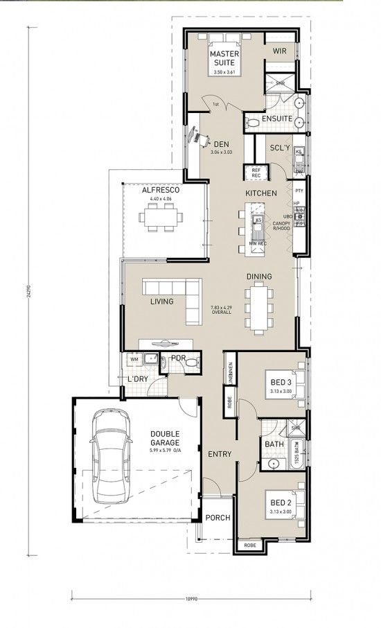 Avalon Exclusive this three bedroom, two bathroom home plan makes the most of a narrow block. Designed by Perth builder Switch Homes.