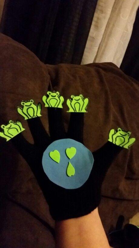 Five little speckled frogs  Used black gloves Foam sheets  Hot glue gun