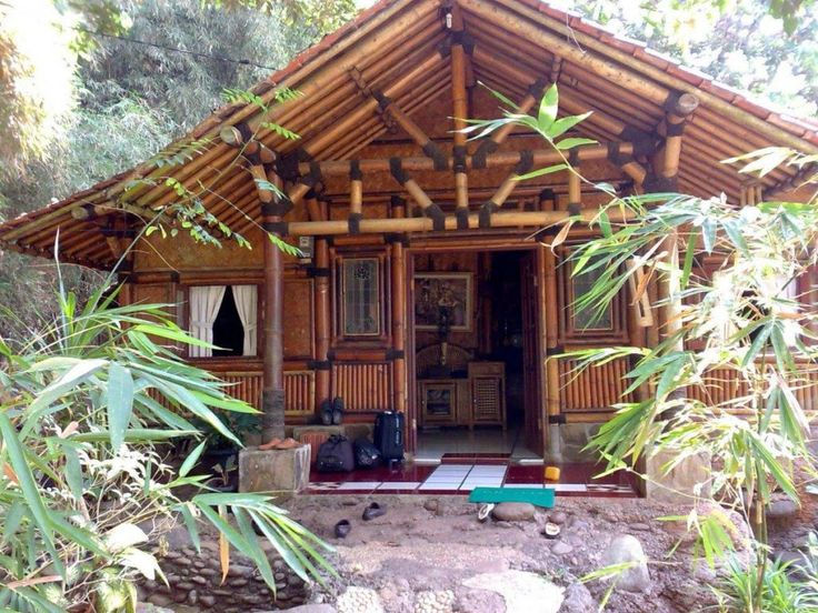 Traditional Bamboo House Design With Bamboo Wall Decor And