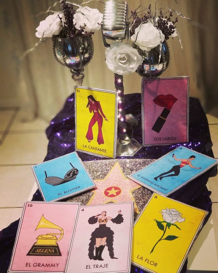 Large selena loteria cards for backdrop for dessert table