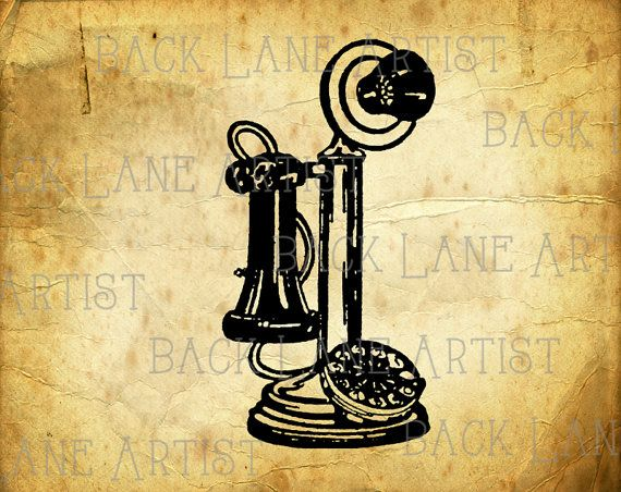 Vintage Telephone Clipart Lineart Illustration by BackLaneArtist Vintage Telephone Illustration