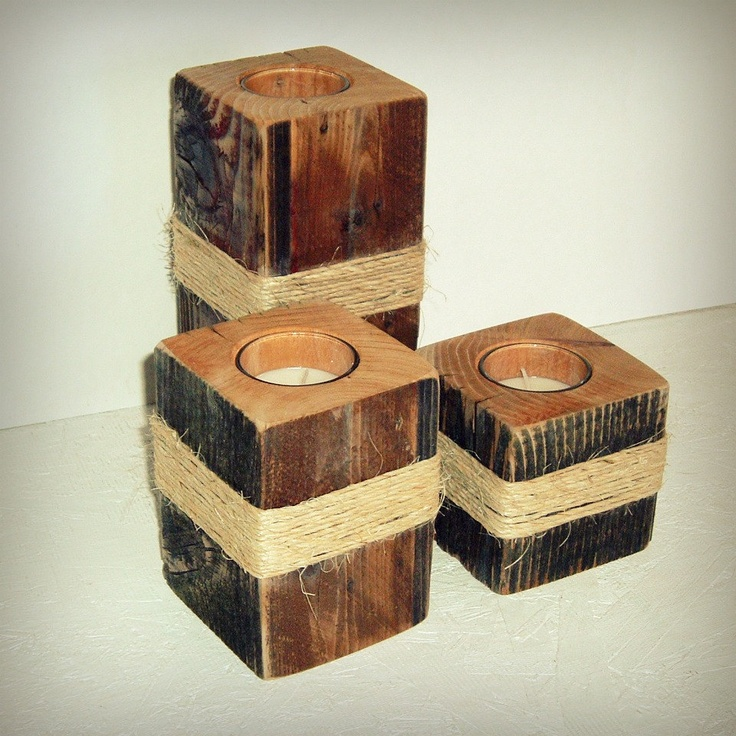 Love these set of three rustic fence post candle votive for Rustic wood candle holders