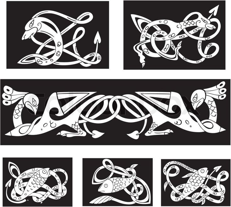 Stock vector of 'Animalistic celtic knot patterns'