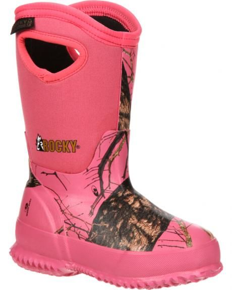 Rocky Girls' Core Pink Camo Waterproof Insulated Rubber Boots