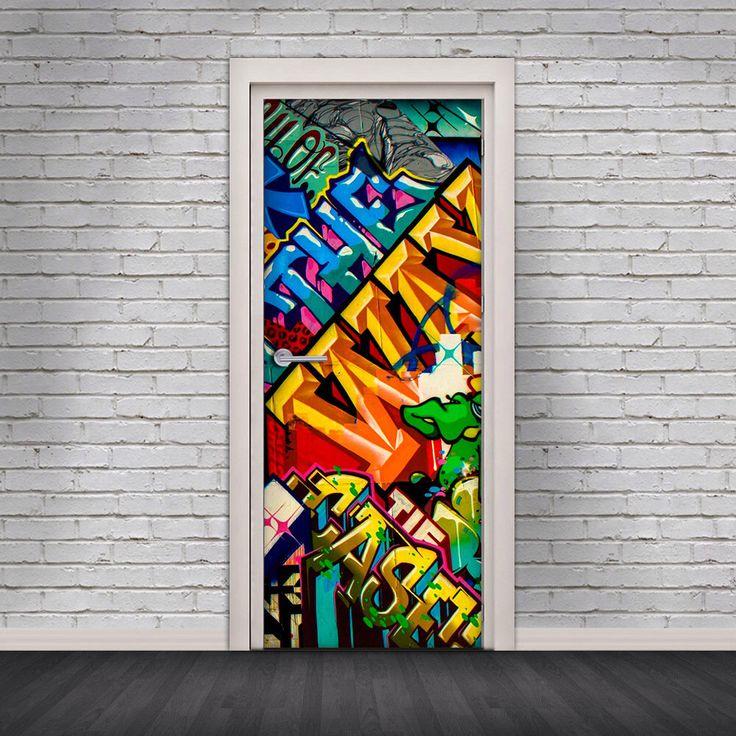 Door Decal Self-Adhesive Vinyl Sticker - New York Street Art Graffiti Door Cover Wrap by Decorelo on Etsy https://www.etsy.com/listing/250224985/door-decal-self-adhesive-vinyl-sticker