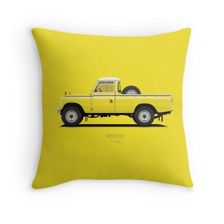 Series 3 PickUp 109 Yellow  #redbubble #landrover #landy #landroverseries #series3 #landroverpickup #ARVwerks #apparel #merchandise #carart #art #automotive #british #pickup #pickuptruck #landrover109 #throwpillow