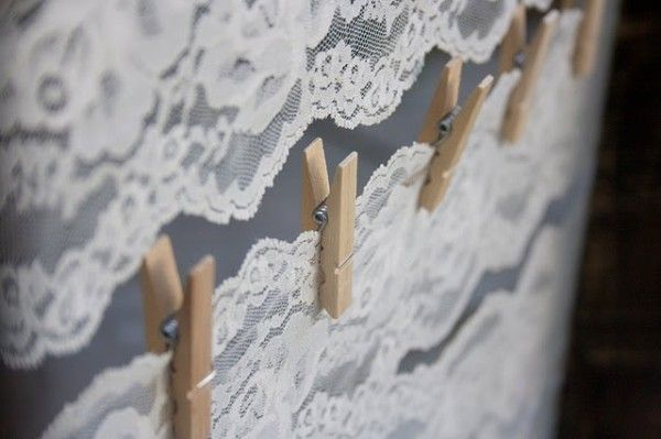 Table Plan Idea - peg table number and associated guest names to board with lace