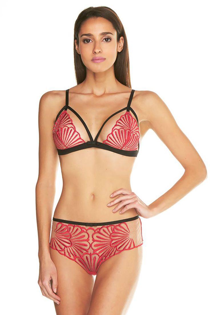 Red and Black Triangle Bra, COSABELLA, $105; Red and Black Brazilian Briefs, COSABELLA, $94