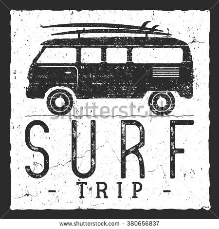 Surf trip concept. Vector Summer surfing retro badge. Beach surfer emblem with rv, boards. Outdoors banner, vintage background. Use as icon design. For summer, Logotype, label, party brochure