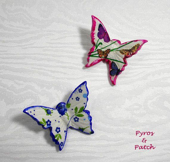 Set di 2 decoupage farfalla in ceramica decorato di PyrosePatch