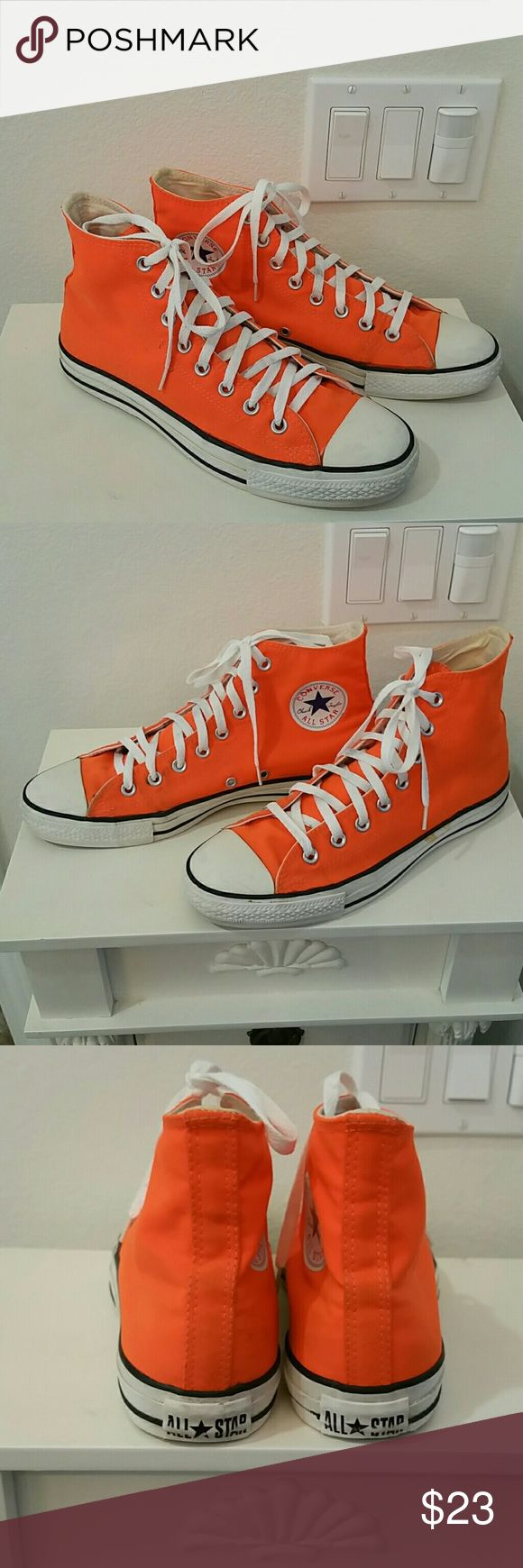 Converse hightops Pre owned orange lace up hightops. A few small marks, but otherwise in good condition.  Lots of life left in them. Please ask questions prior to purchase. Converse Shoes Sneakers