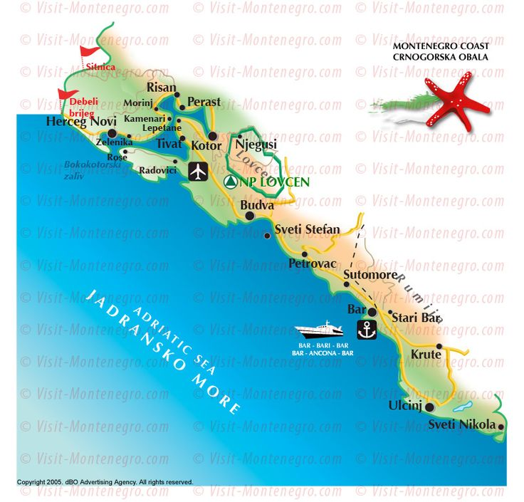 Montenegro Coast Map. Montenegro is a small Balkan country with rugged mountains, medieval villages and a narrow strip of beaches along its Adriatic coastline. The Bay of Kotor, resembling a fjord, is dotted with coastal churches and fortified towns such as Kotor and Herceg Novi.