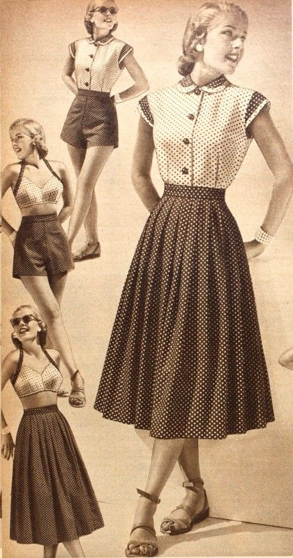 "An adorably demure polka dotty wardrobe from 1952 ""makes four outfits, each worth a big rave"" (!) It was available in navy/white and red/white colourways."
