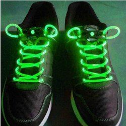 $3.02 Special Stylish 3-Mode Colored LED Super Flashing Green Night Light Shoelaces for Halloween Party