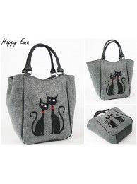filcová kabelka mačky