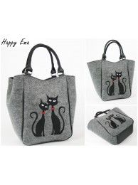 Kabelka šedá - čierne mačky 31F