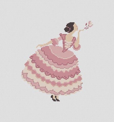 Girl blowing flower PDF Cross Stitch Pattern by PatternBird, $4.00