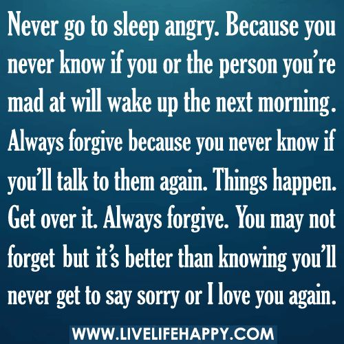 Never Go To Sleep Angry