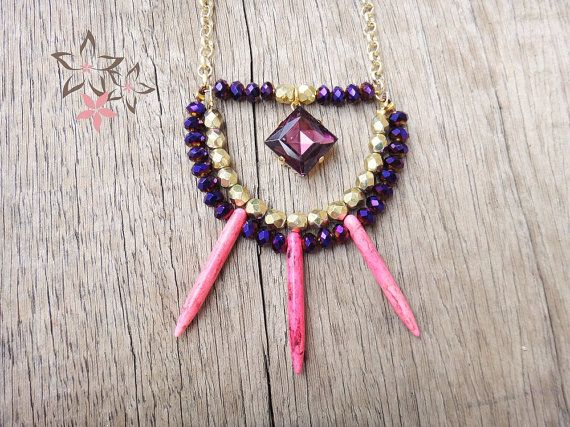 * JOLEEN * Handmade necklace with gold plated brass chain adorned with crystals, fouchsia howlite spikes and richly colored square-cut crystal stone.