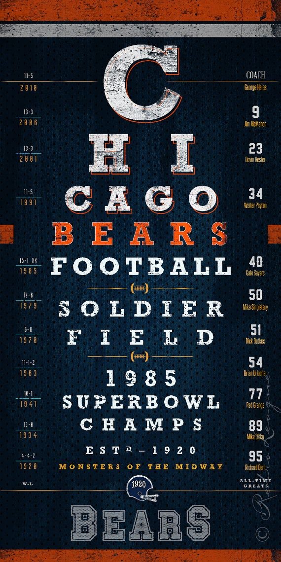 Chicago Bears 1985 Super Bowl Eye Chart Midnight by RetroLeague