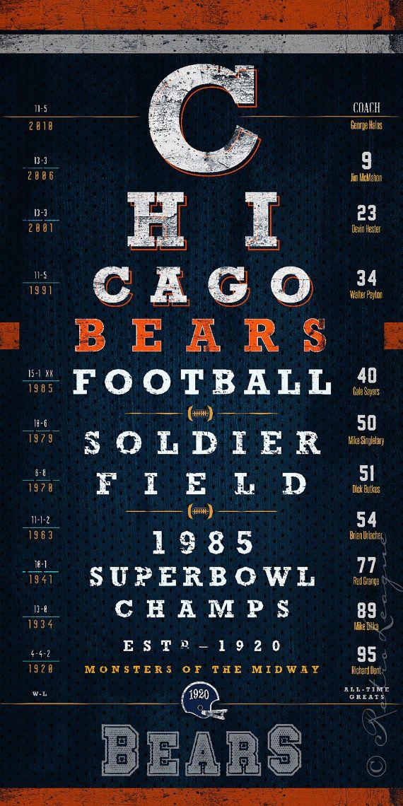 Chicago Bears 1985 Super Bowl Eye Chart Midnight by RetroLeague