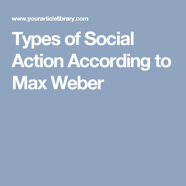 Types of Social Action According to Max Weber