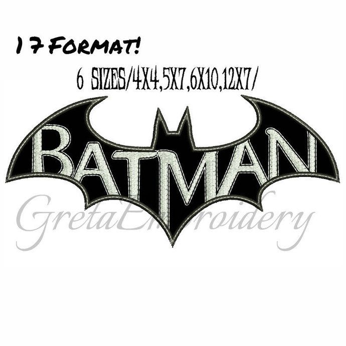 Batman applique Embroidery Design,INSTANT DOWNLOAD,Machine Embroidery Designs,batman embroidery design,superheroes embroidery,batman logo by GretaEmbroidery, $3.00 USD