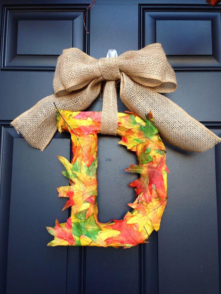 Fall Leaves Quot D Quot Door Hanger Craft Ideas Pinterest