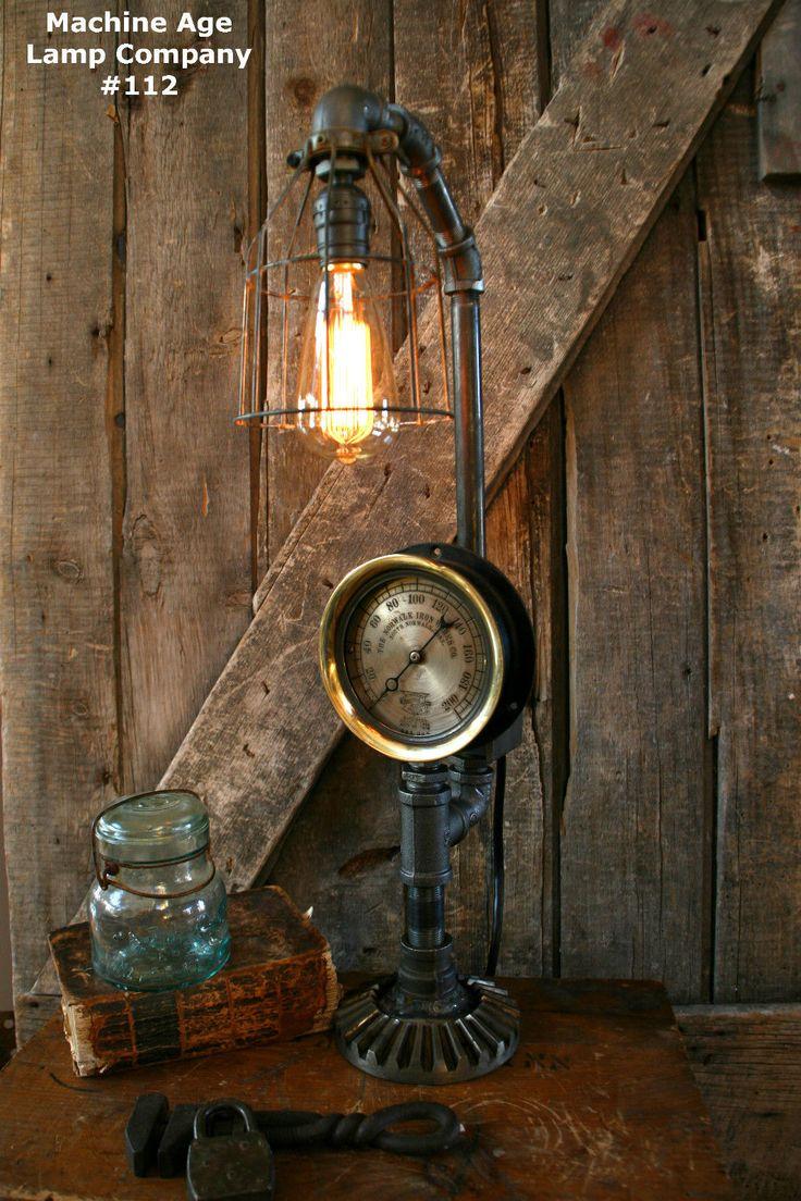 Steampunk Lamp Industrial Art Machine Age Steam Gauge
