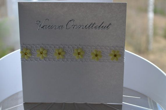 Flower card for many occasions / Kukkakortti useaan eri tilanteeseen Valentine's day Wedding Birthday Baby shower Mothersday Graduation