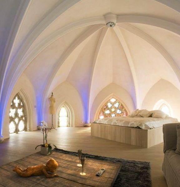 Vaulted bedroom ~ wow