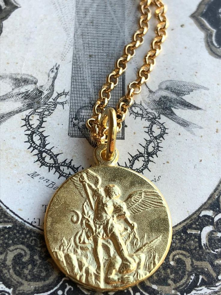 French 18K Gold Plated Sterling Silver Saint Michael Medal Necklace Catholic Jewelry Archangel Saint Catholic Medal St Michele Michael by SacredBarcelona on Etsy