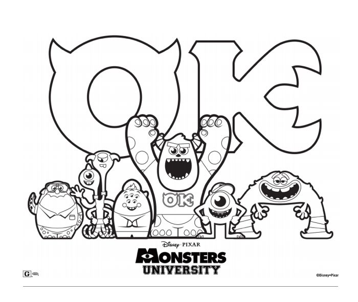 monsters university coloring pages Celebrate #MonstersUniversity now playing in theatres with this  monsters university coloring pages