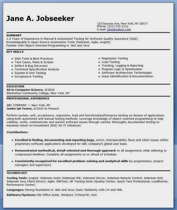 Qa Tester Resume No Experience Popular Qa Software Tester Resume