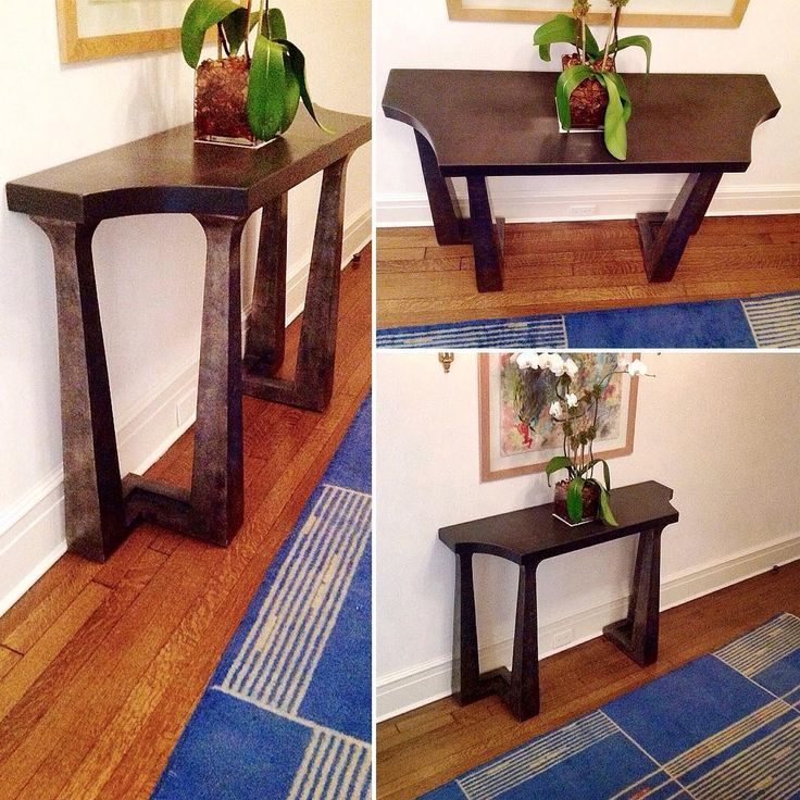 Custom #Console #Table Top #Concrete Base #Wood #GoldLeaf
